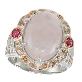Michael Valitutti Palladium Silver Morganite Ring Accented By Rubelite And Diamond|https://ak1.ostkcdn.com/images/products/9684842/P16863341.jpg?impolicy=medium