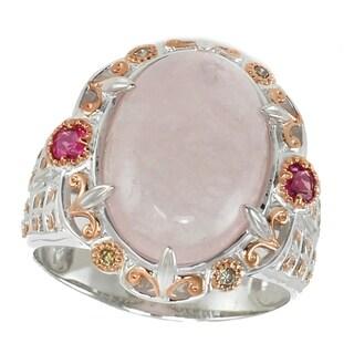Michael Valitutti Palladium Silver Morganite Ring Accented By Rubelite And Diamond