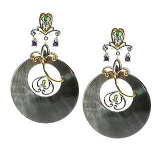 Michael Valitutti Palladium Silver Mother Of Pearl And Chrome Diopside Earrings