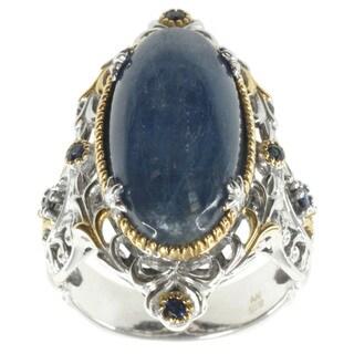 Michael Valitutti Palladium Silver Kyanite and Sapphire Ring