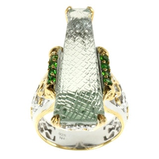 Michael Valitutti Palladium Silver Green Amethyst And Chrome Diopside Ring