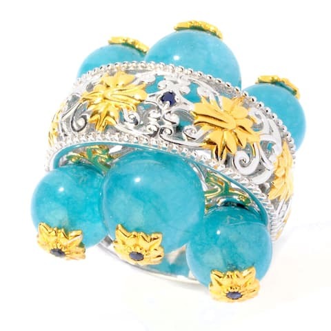 Michael Valitutti Two-tone Palladium Silver Beaded Milky Aquamarine and Sapphire Ring