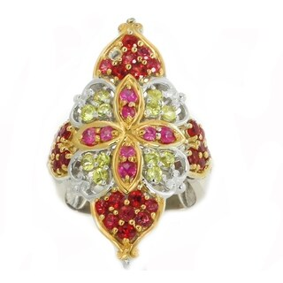 Michael Valitutti Palladium Silver Orange, Yellow and Pink Round Sapphire Ring