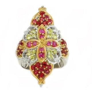 Michael Valitutti Palladium Silver Orange, Yellow and Pink Round Sapphire Ring