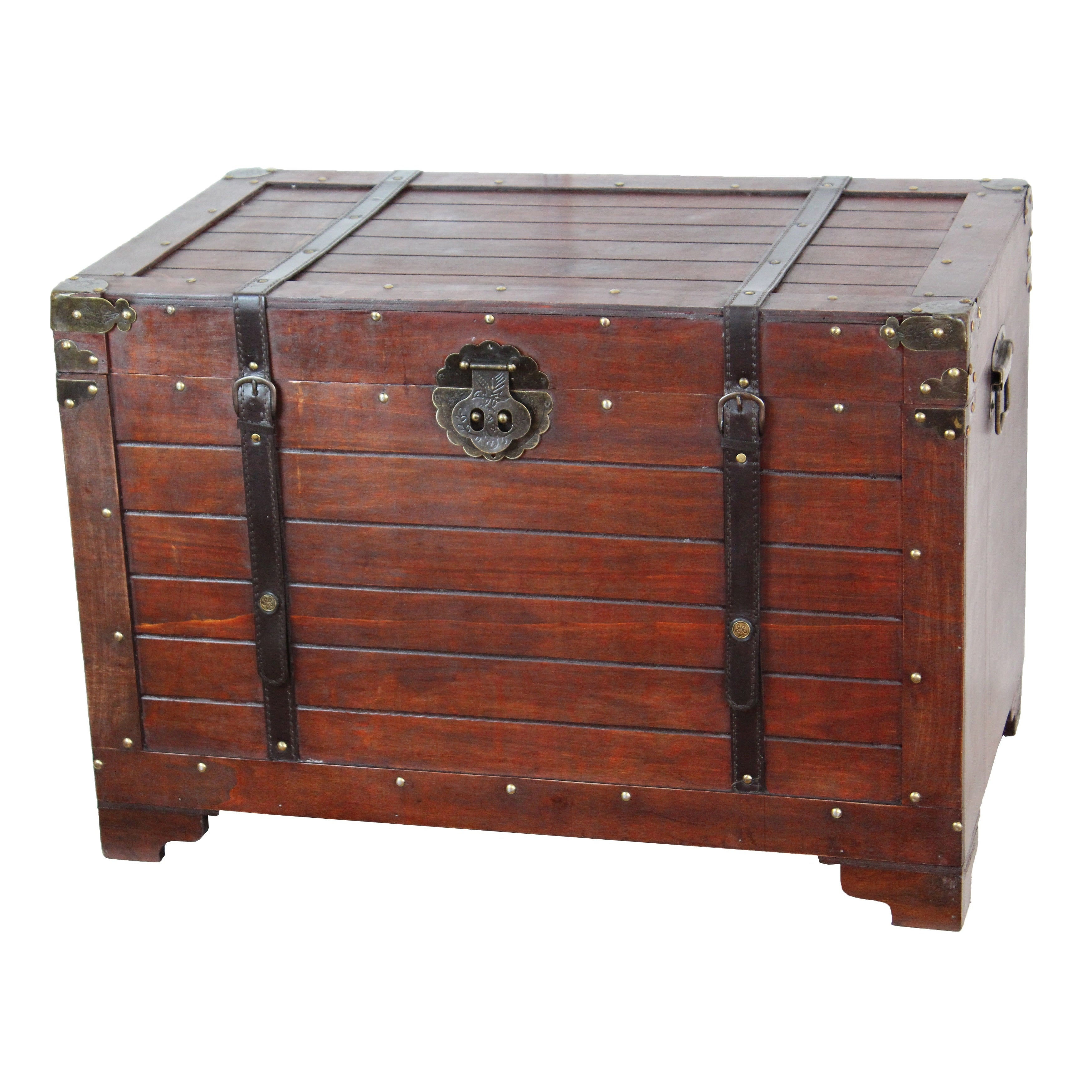 Vintiquewise Old Fashioned Wooden Treasure Hope Chest - b...