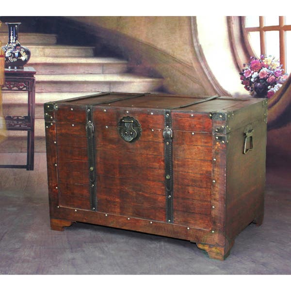 Shop Old Fashioned Wooden Treasure Hope Chest Brown Overstock