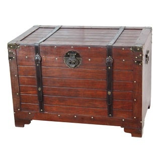 Old Fashioned Wooden Treasure Hope Chest - brown