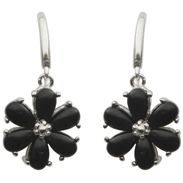 ca158f7b3 Shop Gems For You Sterling Silver Black Onyx Floral Dangle Earrings ...