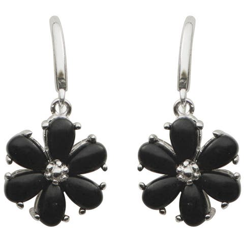 Gems For You Sterling Silver Black Onyx Floral Dangle Earrings