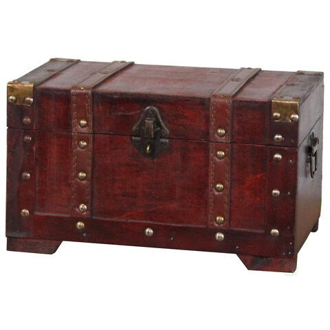 Antique Style Small Wooden Trunk - Antique Cherry