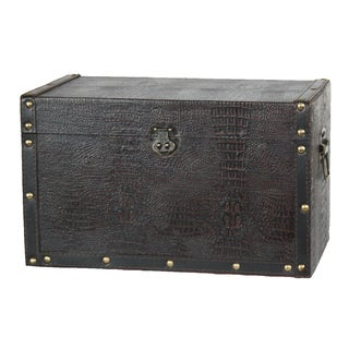 Decorative Leather Wooden Trunk - Black