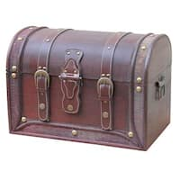 Antique Style Wood And Leather Round Top Trunk