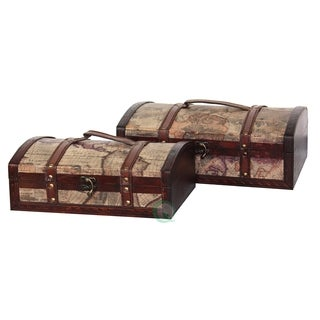 Old World Map Treasure Chest (Set of 2)
