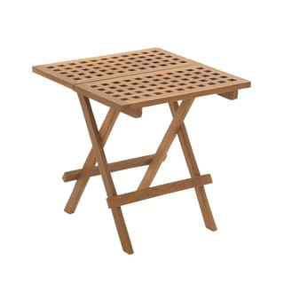 Brown Teak Wood Folding Table