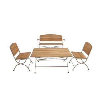 Traditional 4-Piece Metal/Wood Folding Patio Set by Studio 350
