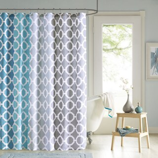 90 Degrees by Design Lab Nala Teal Shower Cturtain and Hook Set