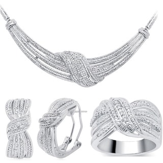 Divina Rhodium over Brass 1/5ct TDW 3-piece Diamond Jewelry Set - White