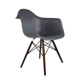 Poly and Bark Vortex Walnut Wood Leg Dining Arm Chairs (Set of 2)