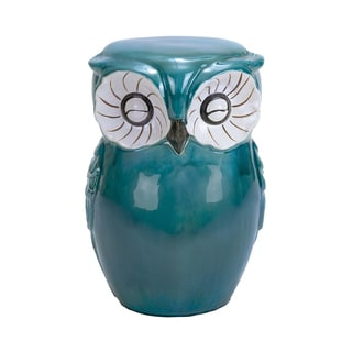 Green Ceramic Owl Stool