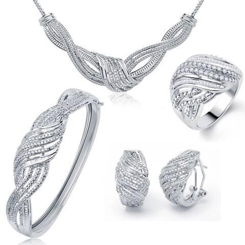 Divina Silvertone Brass 2ct TDW Diamond 4-piece Jewelry Set