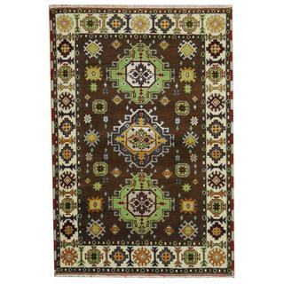 Herat Oriental Indo Hand-knotted Tribal Kazak Brown/ Green Wool Rug (4'1 x 5'11)