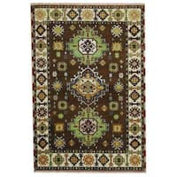 Herat Oriental Indo Hand-knotted Tribal Kazak Brown/ Green Wool Rug (4'1 x 5'11) - 4'1 x 5'11