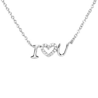 Sterling Silver 'I LOVE YOU / I HEART YOU' with Charming White Cubic Zirconia Heart Accent Necklace and 2-inch Extension