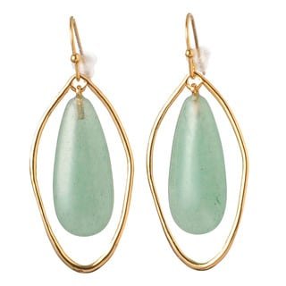 De Buman 18k Rose Gold Plated Yellow Jade or 18k Yellow Gold Plated Green Aventurine Earrings