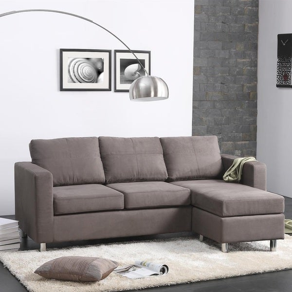 Small spaces grey microfiber sectional sofa free for Small sectional sofa overstock
