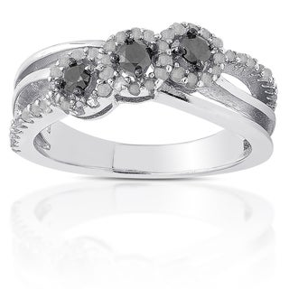 Finesque Sterling Silver 1/2ct TDW Black Diamond 3-stone Ring