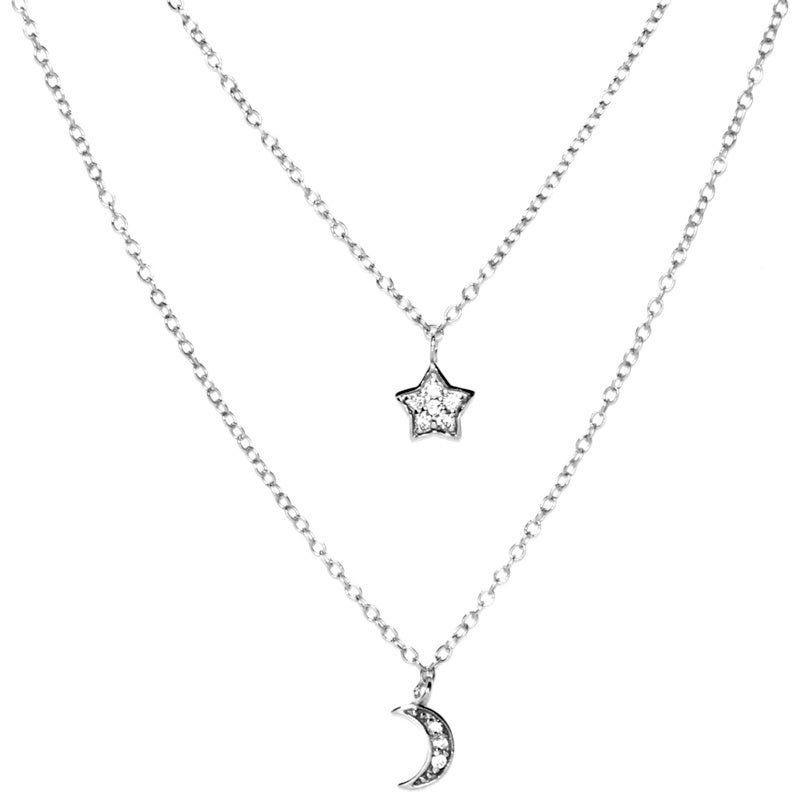 51623f18f9311 Sterling Silver Double Strand Cubic Zirconia Star and Half Moon Charm  Necklace