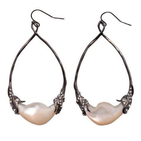 De Buman 18k Yellow Gold Plated or Black Rhodium Plated Mother of Pearl and Crystal Earrings
