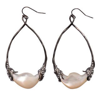 De Buman 18k Yellow Gold Plated or Black Rhodium Plated Mother of Pearl and Crystal Earrings https://ak1.ostkcdn.com/images/products/9685360/P16863805.jpg?impolicy=medium