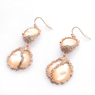 De Buman 18k Rose Gold Plated Mother of Pearl and Crystal Earrings