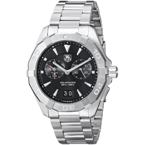 Tag Heuer Men's WAY111Z.BA0910 '300 Aquaracer' Black Dial Stainless Steel Alarm Quartz Watch