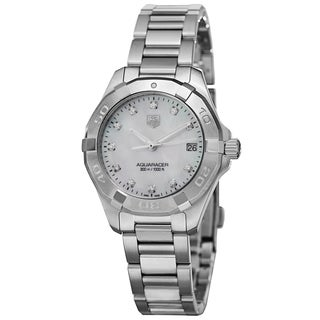 Tag Heuer Women's WAY1313.BA0915 '300 Aquaracer' Mother of Pearl Diamond Dial Stainless Steel Watch