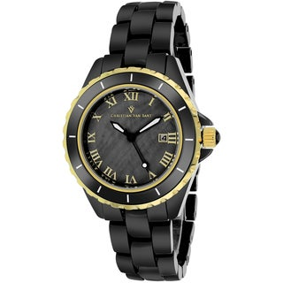 Christian Van Sant Women's CV9415 Palace Round Black Bracelet Watch