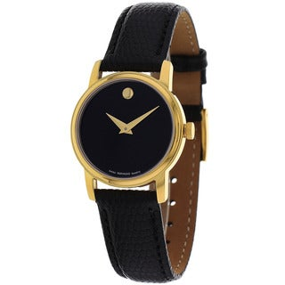 Movado Women's Museum Round Black Leather Watch
