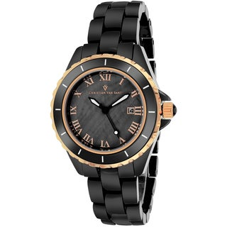 Christian Van Sant Women's CV9416 Palace Round Black Bracelet Watch