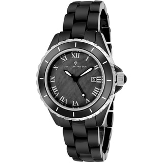 Christian Van Sant Women's CV9414 Palace Round Black Bracelet Watch