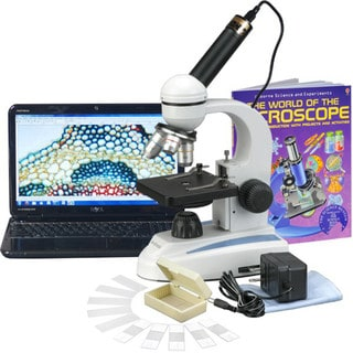 AmScope 40x-1000x Student Microscope and Camera with Slides and Book