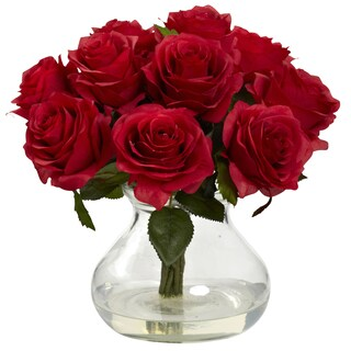 Nearly Natural Rose Arrangement with Vase (Option: Red)
