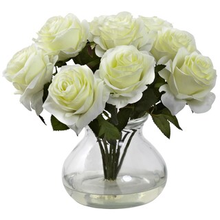 Nearly Natural Rose Arrangement with Vase (Option: White)