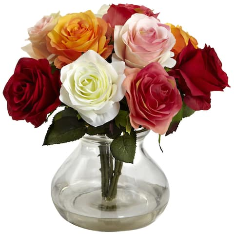 Nearly Natural Rose Arrangement with Vase