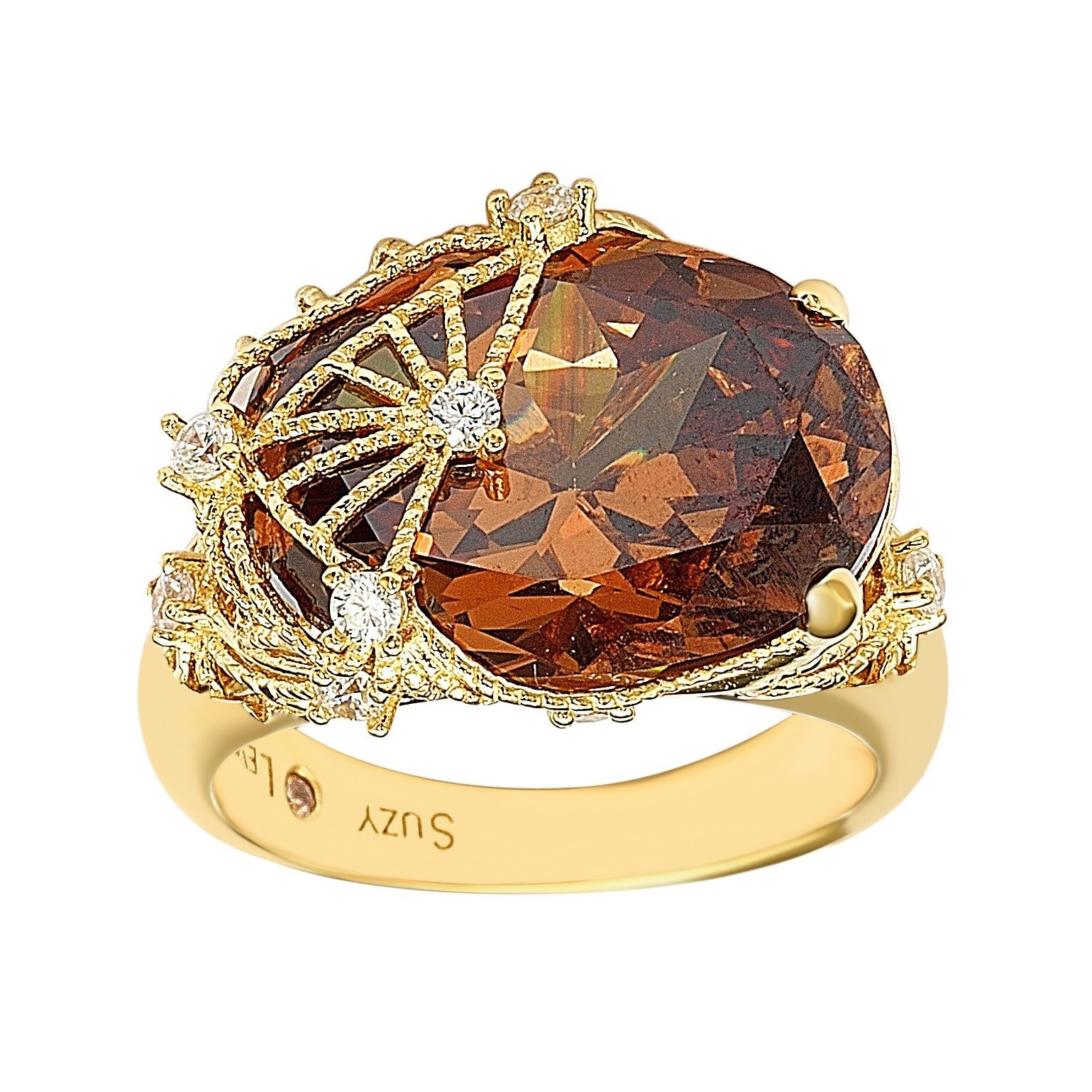 Suzy Levian Gold Plated Sterling Silver Brown Cubic Zirconia Ring (Gold/Gold Overlay/Sterling Silver - 8.5)