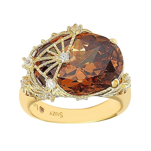 Suzy L. Gold Plated Sterling Silver Brown Cubic Zirconia Ring