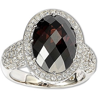 Suzy Levian Sterling Silver Brown Cubic Zirconia Checkered Cut Ring