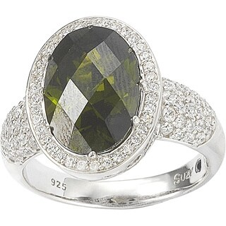 Suzy Levian Sterling Silver Peridot Colored Cubic Zirconia Bridal Ring