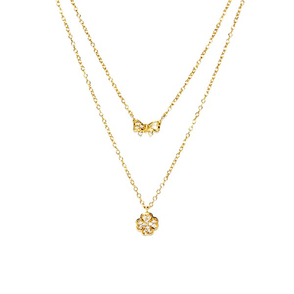 Gold over Sterling Silver Double Strand Cubic Zirconia Clover Flower and Bow Charm Necklace