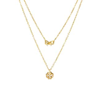 Gold over Sterling Silver Double Strand Cubic Zirconia Clover Flower and Bow Charm Necklace|https://ak1.ostkcdn.com/images/products/9687562/P16866315.jpg?impolicy=medium